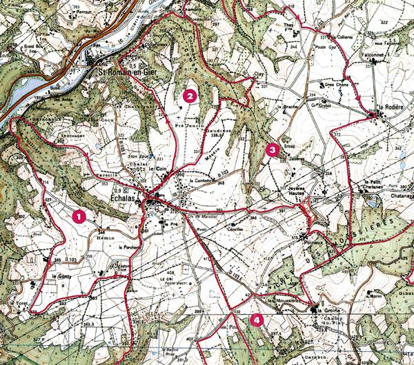 Carte des randonnées echalas 69