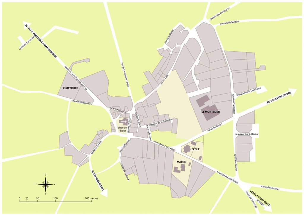 Le plan du centre bourg echalas 69